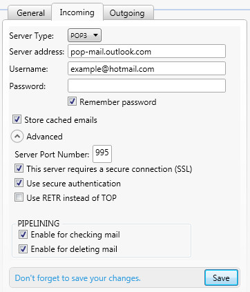 Hotmail and Outlook Settings | MailWasher Pro